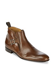 Massimo Matteo Solid Leather Chelsea Boots Brown