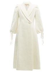 Brock Collection Padova Single Breasted Textured Wool Blend Coat Cream