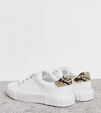 Bershka Single Sole Lace Up Trainers In White