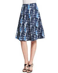 Oscar De La Renta Watercolor Plaid Pleated A Line Skirt Marine Blue
