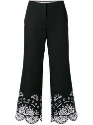 Emilio Pucci Cropped Embroidered Trousers Cotton Spandex Elastane Cupro Black