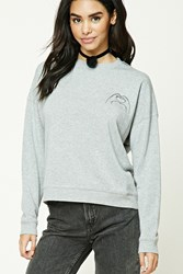 Forever 21 Fleece Heart Graphic Sweatshirt Heather Grey