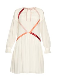 Fendi Contrast Ribbon Crepe De Chine Dress White Multi