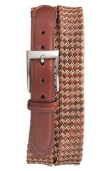 Men's Torino Belts Woven Leather Belt Cognac Natural