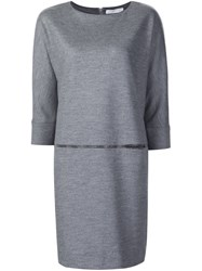Fabiana Filippi Three Quarter Sleeves Dress Grey
