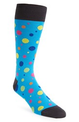 Men's Bugatchi Multi Dot Cotton Blend Socks Blue Aqua Orange Yellow