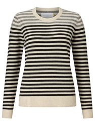 Collection Weekend By John Lewis Crew Neck Cashmere Stripe Jumper Black Natural