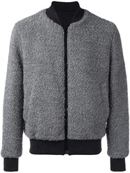Msgm Furred Effect Bomber Jacket Grey