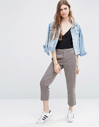 Asos Cropped Chino Trousers With Patch Pockets Grey Beige