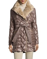 Via Spiga Long Quilted Puffer Coat W Faux Fur Collar Desert