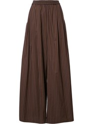 Tome 'Wide Stripe Long Karate' Trousers Brown