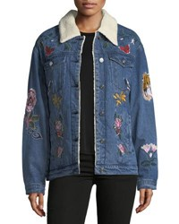 Bagatelle Faux Shearling Lined Embroidered Denim Jacket Blue
