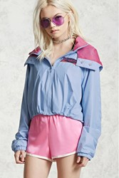 Forever 21 Babezone Graphic Windbreaker Blue Pink