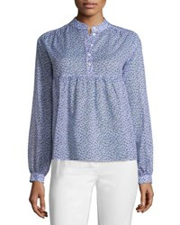 Michael Kors Long Sleeve Floral Print Empire Blouse Oleander