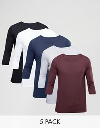 Asos 3 4 Sleeve T Shirt With Crew Neck 5 Pack Multi