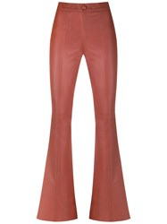 Talie Nk Leather Flared Trousers Yellow Orange