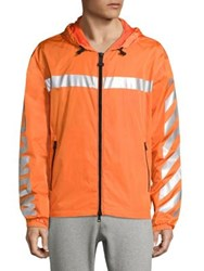 Moncler O Gangui Striped Zip Front Hoodie Orange Black