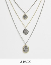 Bershka 3 Pack Pendant Necklace In Silver And Gold