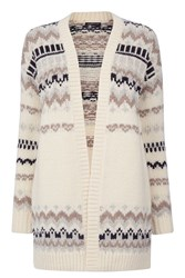 Warehouse Fairisle Cardigan Cream