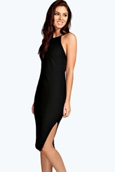 Boohoo Crepe Low Back Midi Bodycon Dress Black