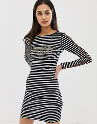 Superdry Lizzie T Shirt Dress In Stripe Multi