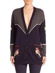 Stella Mccartney Bird Embroidered Wool Cardigan Charcoal Ink