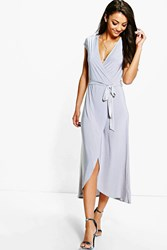 Boohoo Shamira Slinky Wrap And Tie Midaxi Dress Silver