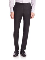 Isaia Flat Front Dress Pants Black