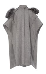 Prabal Gurung Braid Embroidered Hooded Poncho With Silver Fox Fur Grey