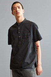 Urban Outfitters Uo Band Collar Short Sleeve Popover Shirt Black