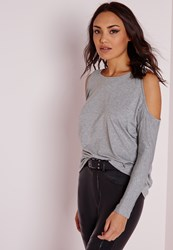 Missguided Cold Shoulder Tunic Top Grey Grey