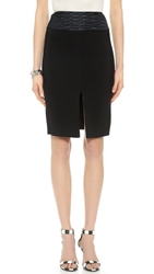 L'agence Front Slit Pencil Skirt Black