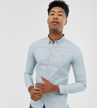 Farah Skinny Fit Button Down Oxford Shirt In Light Blue