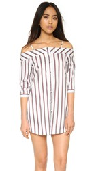 J.O.A. Shirting Dress Ivory Burgundy