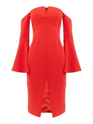 Bardot Jasmine Longsleeve Split Dress Red