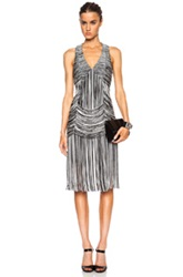 Haute Hippie Trapped And Free Cotton Blend Fringe Dress In Black White