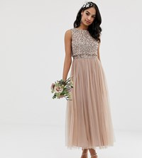 Maya Bridesmaid Sleeveless Midaxi Tulle Dress With Tonal Delicate Sequin Overlay In Taupe Blush Brown