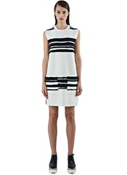 Proenza Schouler Broken Stripe Wool Knit Tunic White