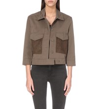 Allsaints Ashe Cotton And Suede Military Jacket Dark Khaki Gre