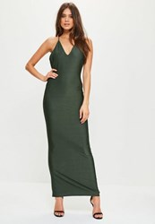 Missguided Green Slinky Cowl Back Strappy Maxi Dress