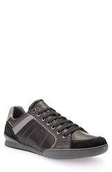 Geox Men's 'U Kristof' Sneaker Black Dark Grey Leather