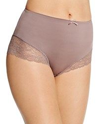 Fine Lines Full Figure Micro Stretch Galloon Lace Brief Mb073 Mocha