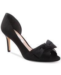 Nina Forbes 2 Bow Peep Toe D'orsay Evening Pumps Women's Shoes Black