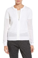 Halogenr Women's Halogen Zip Front Pointelle Cardigan White Pointelle