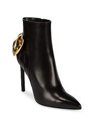 Saint Laurent Metallic Bow Leather Booties Black