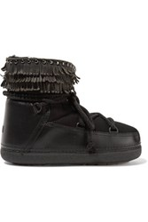 Inuikii Shearling Lined Leather And Suede Boots Black
