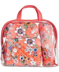 Vera Bradley Iconic 4 Pc. Cosmetics Case Set Coral Floral