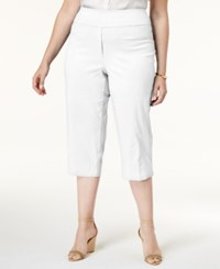 Alfred Dunner Plus Size Corsica Collection Pull On Capri Pants White