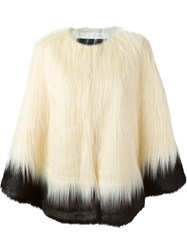 Unreal Fur Two Tone Faux Fur Jacket White