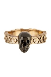 House Of Harlow 14K Gold Plated Engraved Skull Band Size 5 Metallic